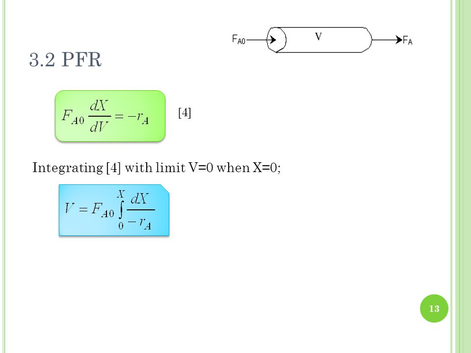 3.2 PFR [4] Integrating [4] with limit V=0 when X=0;